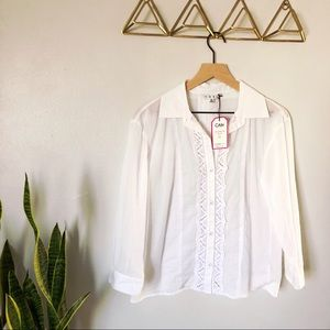 New CAbi Button Up Top in White with Lace Accents